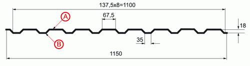 Профнастил МП-20 х 1100 - A, B, R_1