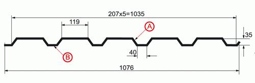 Профнастил МП-35 х 1035-A, B_1