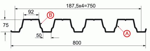 Профнастил H-75 x 750-A, B_1